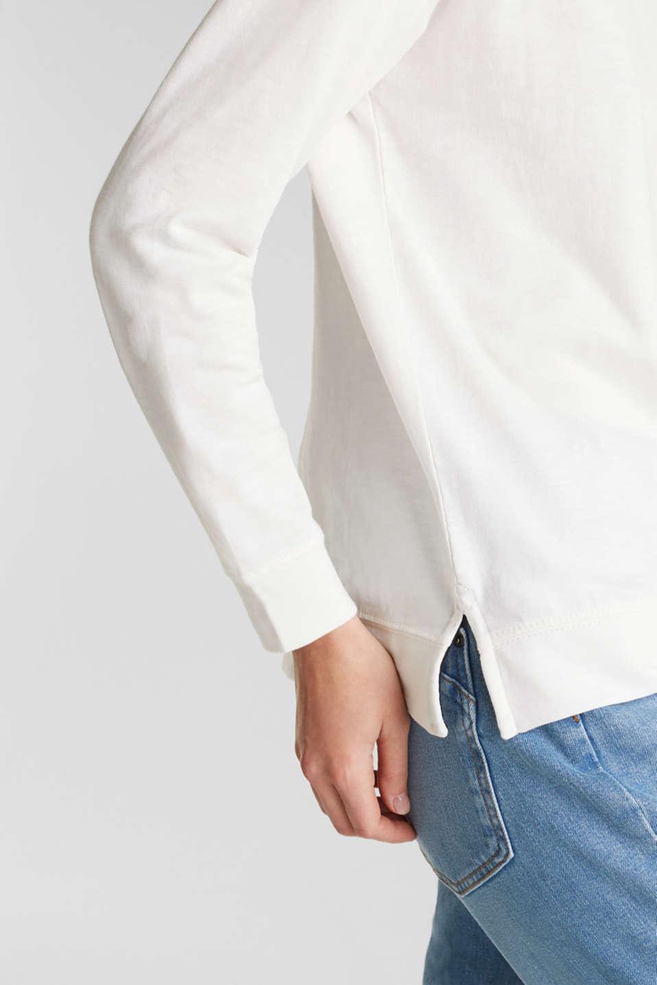 Slub sweatshirt made of 100% organic cotton, OFF WHITE, detail image number 4