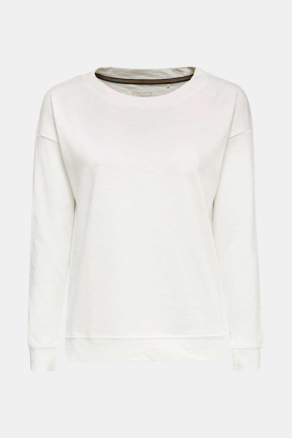 Slub sweatshirt made of 100% organic cotton, OFF WHITE, detail image number 6