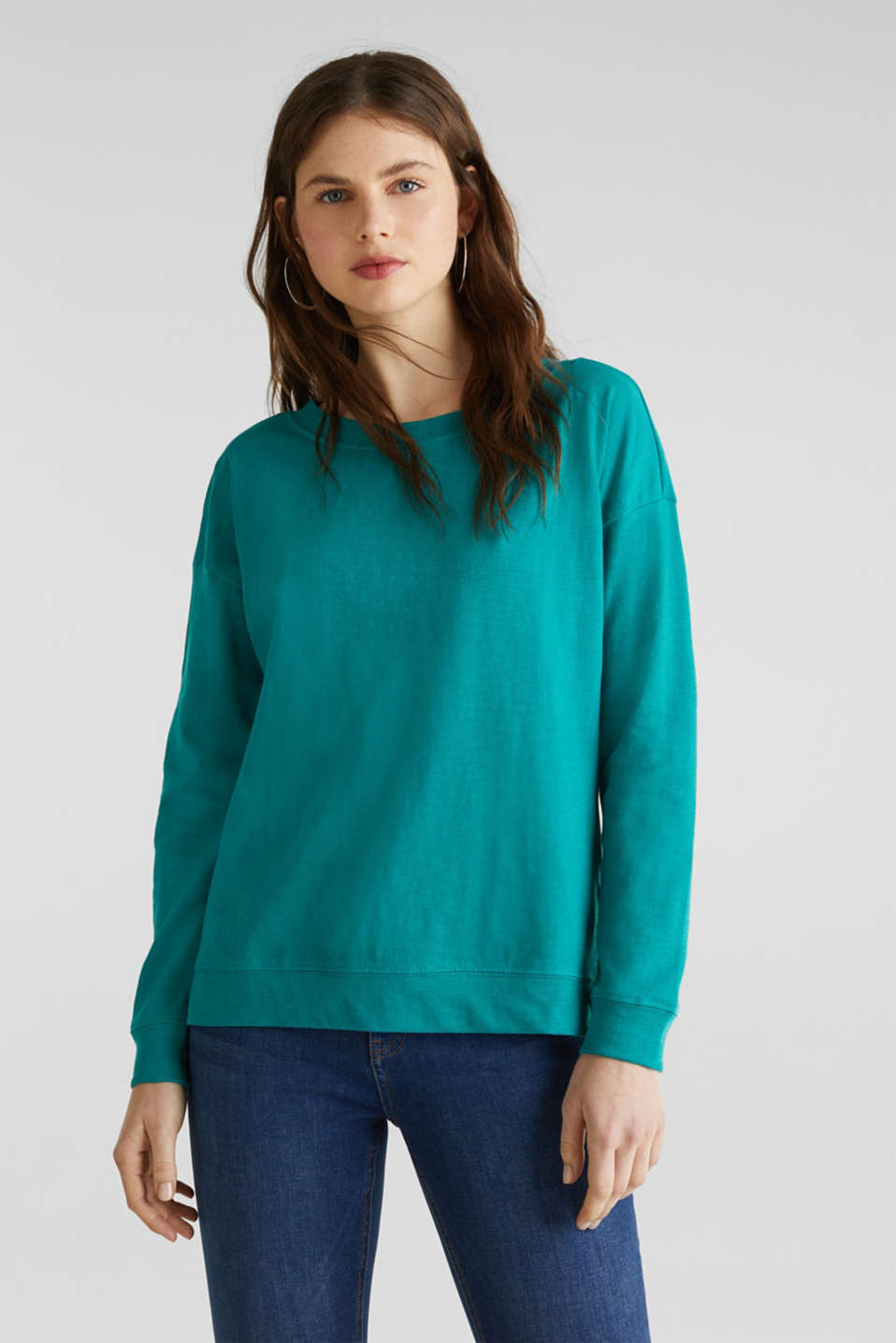 Slub sweatshirt made of 100% organic cotton, TEAL GREEN, detail image number 0