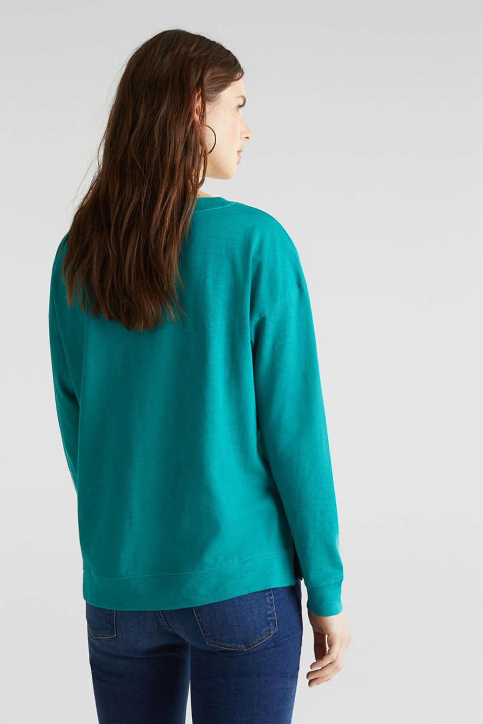 Slub sweatshirt made of 100% organic cotton, TEAL GREEN, detail image number 2