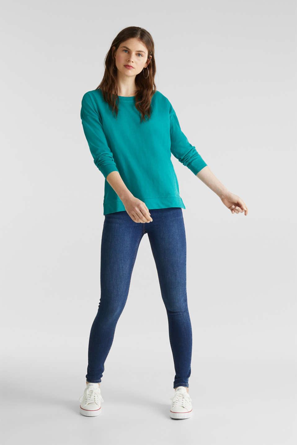 Slub sweatshirt made of 100% organic cotton, TEAL GREEN, detail image number 1