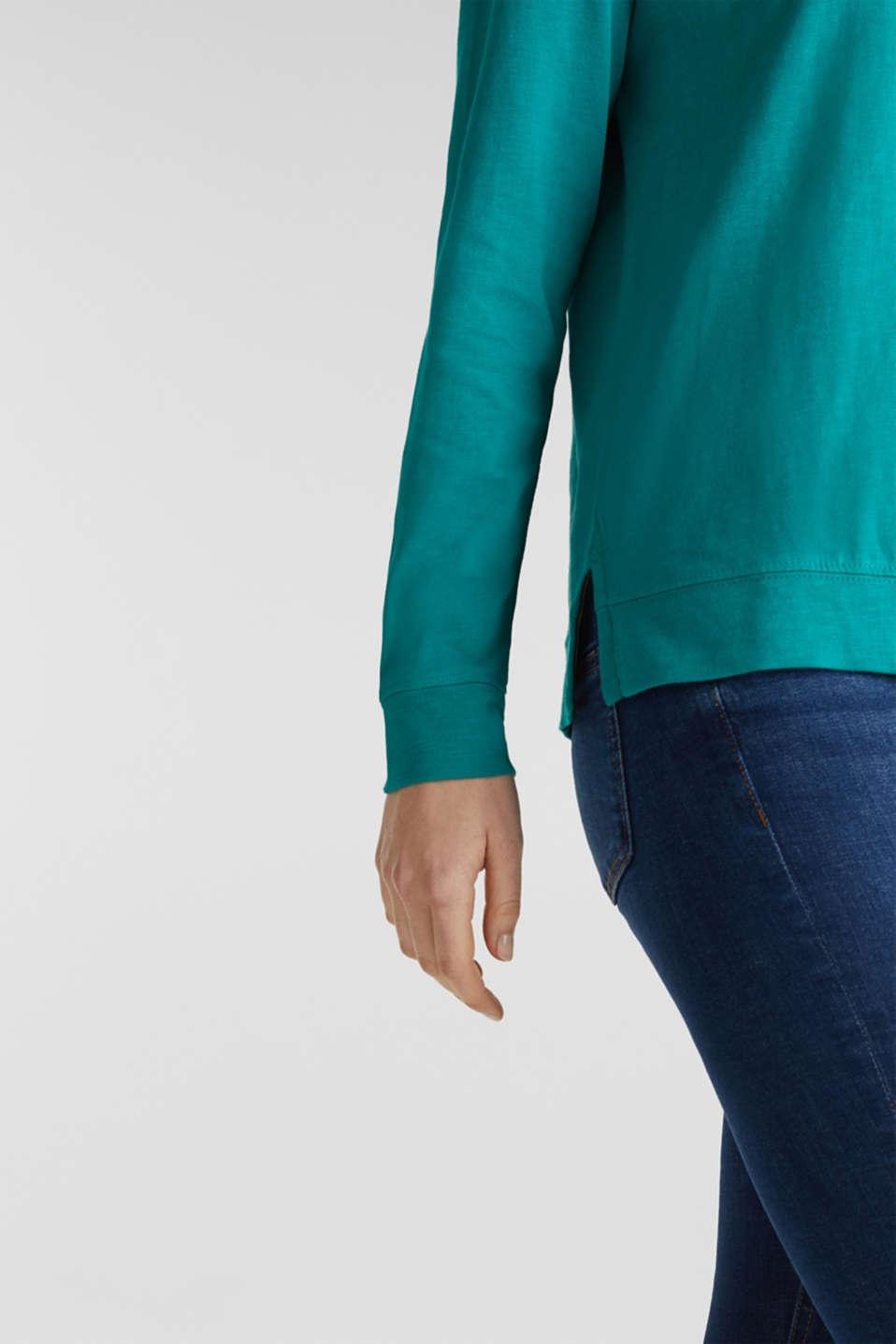 Slub sweatshirt made of 100% organic cotton, TEAL GREEN, detail image number 4