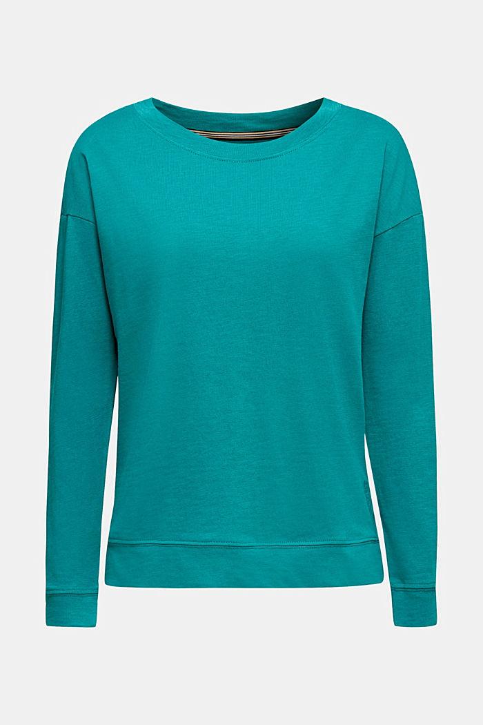 Slub-sweatshirt af 100% økologisk bomuld, TEAL GREEN, detail image number 0