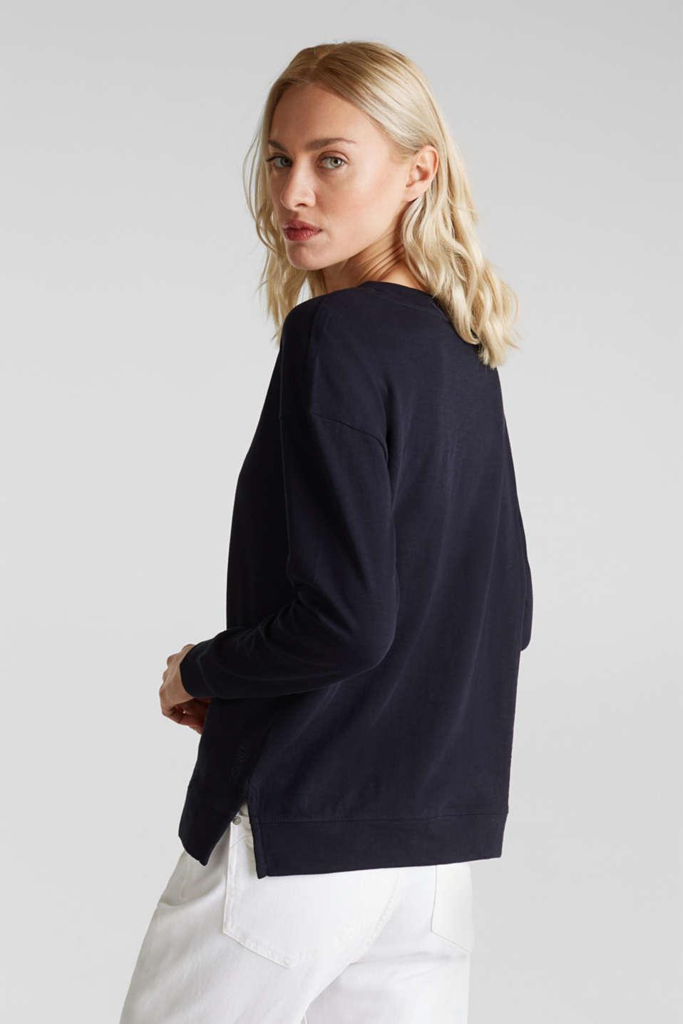 Slub sweatshirt made of 100% organic cotton, NAVY, detail image number 3