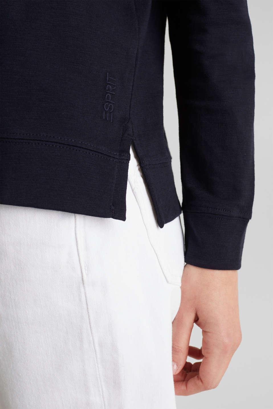 Slub sweatshirt made of 100% organic cotton, NAVY, detail image number 2