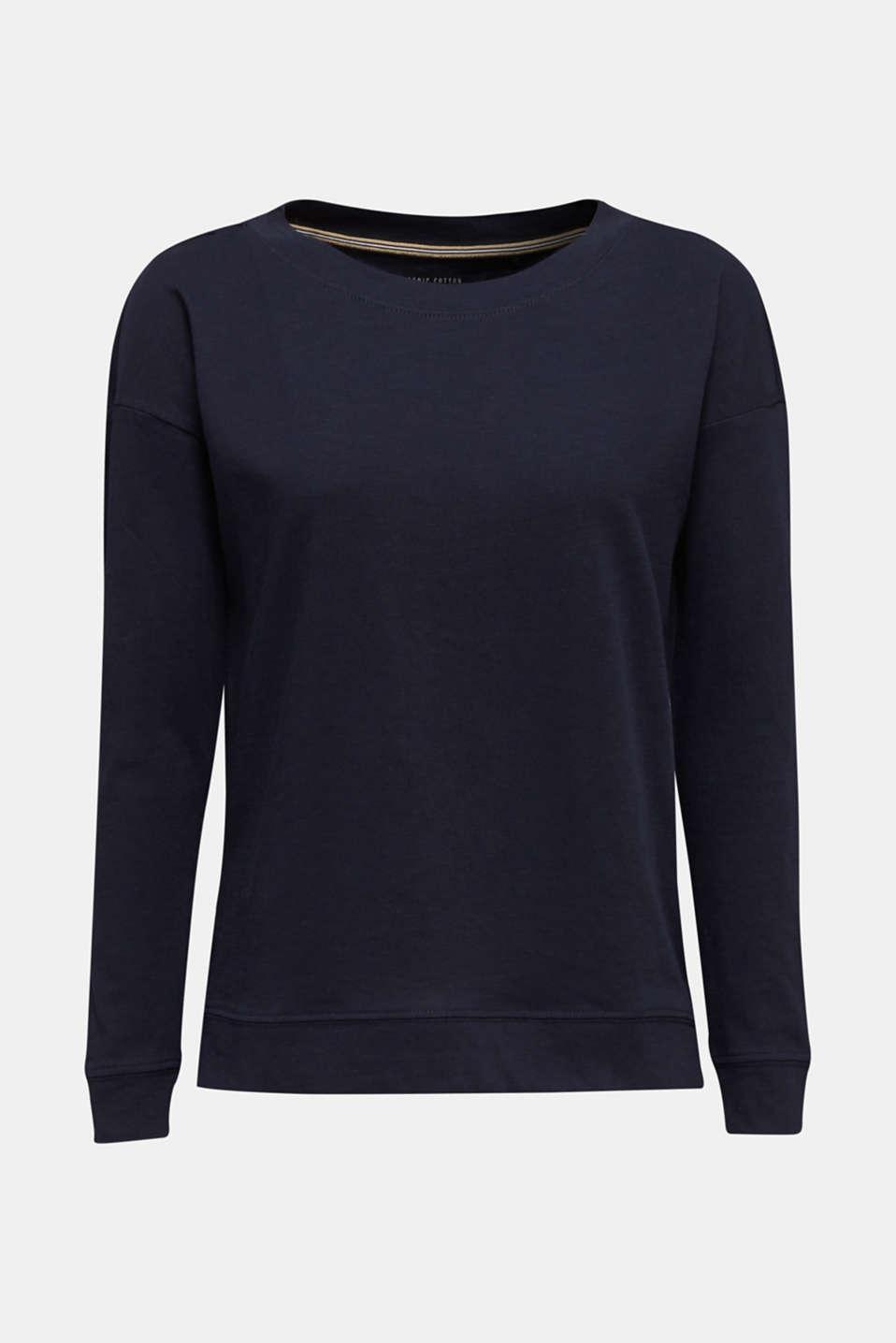 Slub sweatshirt made of 100% organic cotton, NAVY, detail image number 6