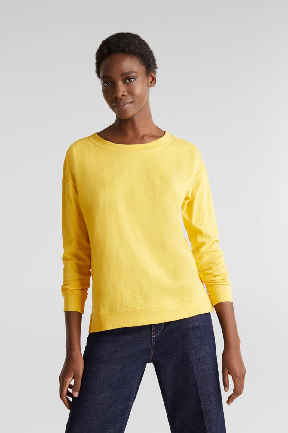 Slub sweatshirt made of 100% organic cotton, YELLOW, detail image number 0