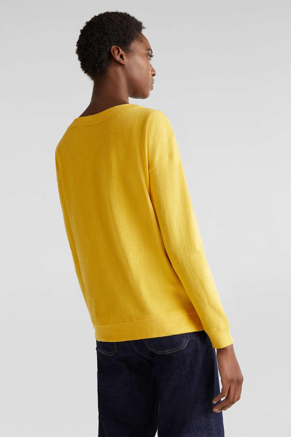 Slub sweatshirt made of 100% organic cotton, YELLOW, detail image number 2