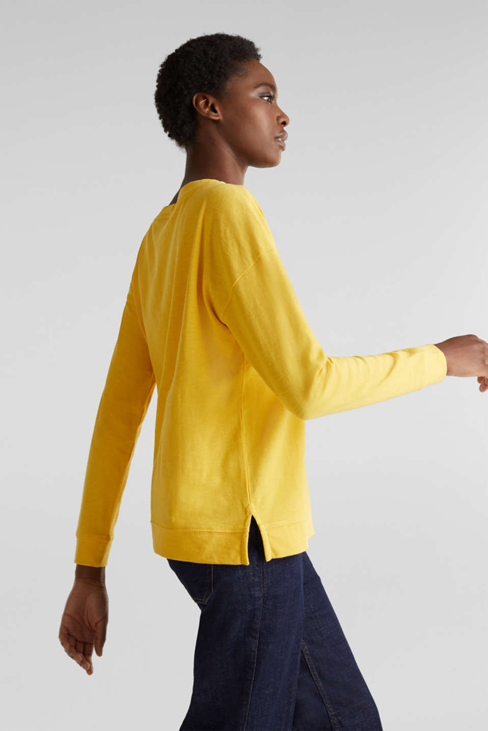 Slub sweatshirt made of 100% organic cotton, YELLOW, detail image number 5