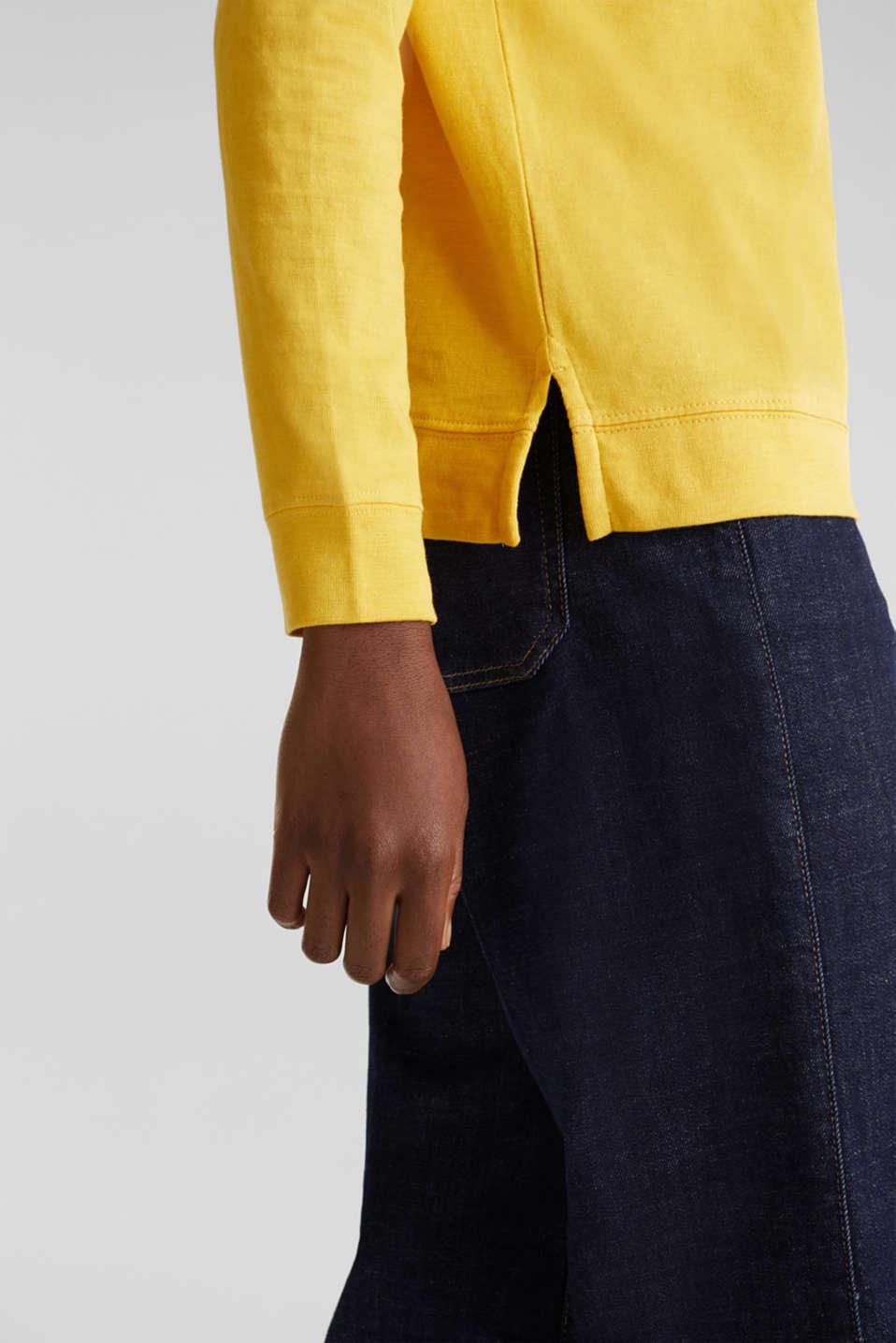 Slub sweatshirt made of 100% organic cotton, YELLOW, detail image number 4