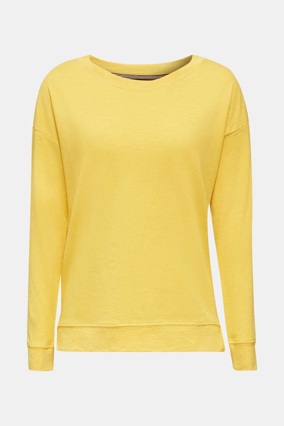 Slub sweatshirt made of 100% organic cotton, YELLOW, detail image number 7
