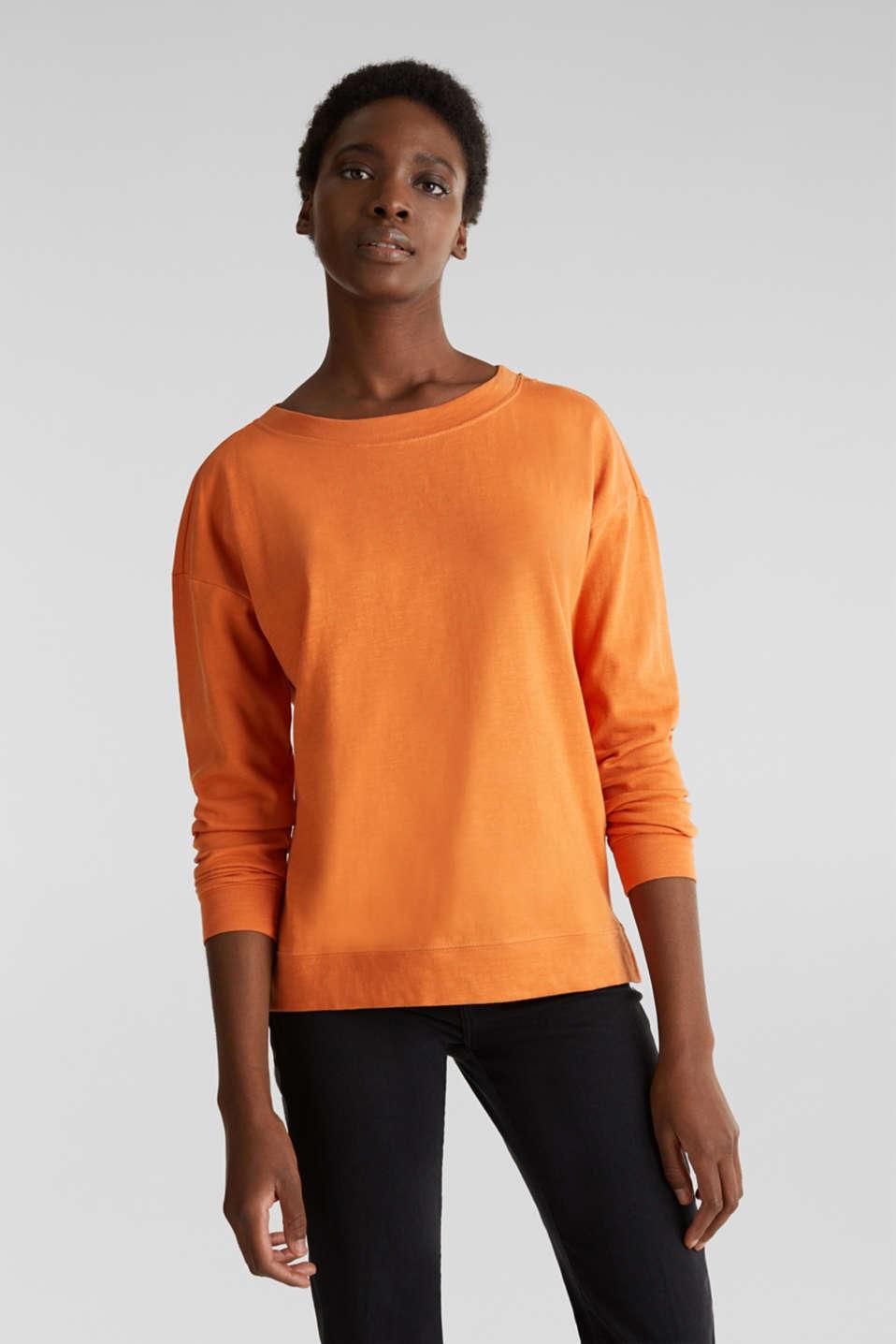 Slub sweatshirt made of 100% organic cotton, RUST ORANGE, detail image number 0