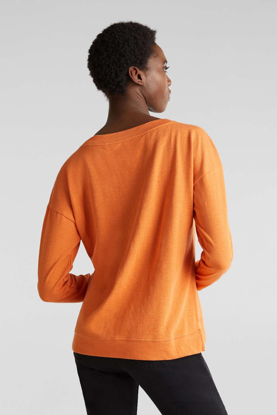 Slub sweatshirt made of 100% organic cotton, RUST ORANGE, detail image number 2