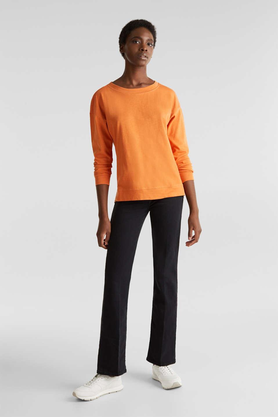 Slub sweatshirt made of 100% organic cotton, RUST ORANGE, detail image number 1