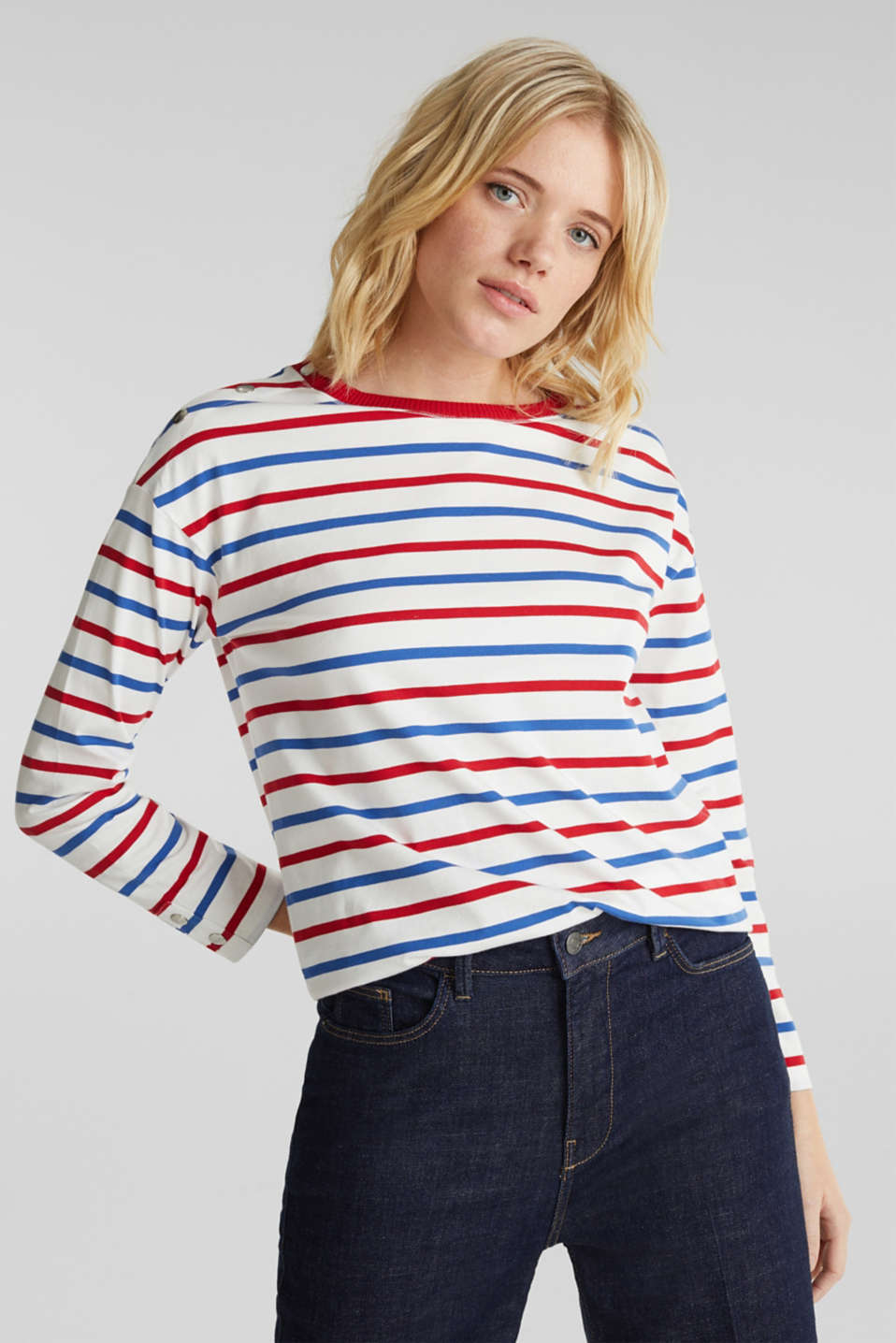 Long sleeve top with button details, 100% cotton, OFF WHITE, detail image number 0
