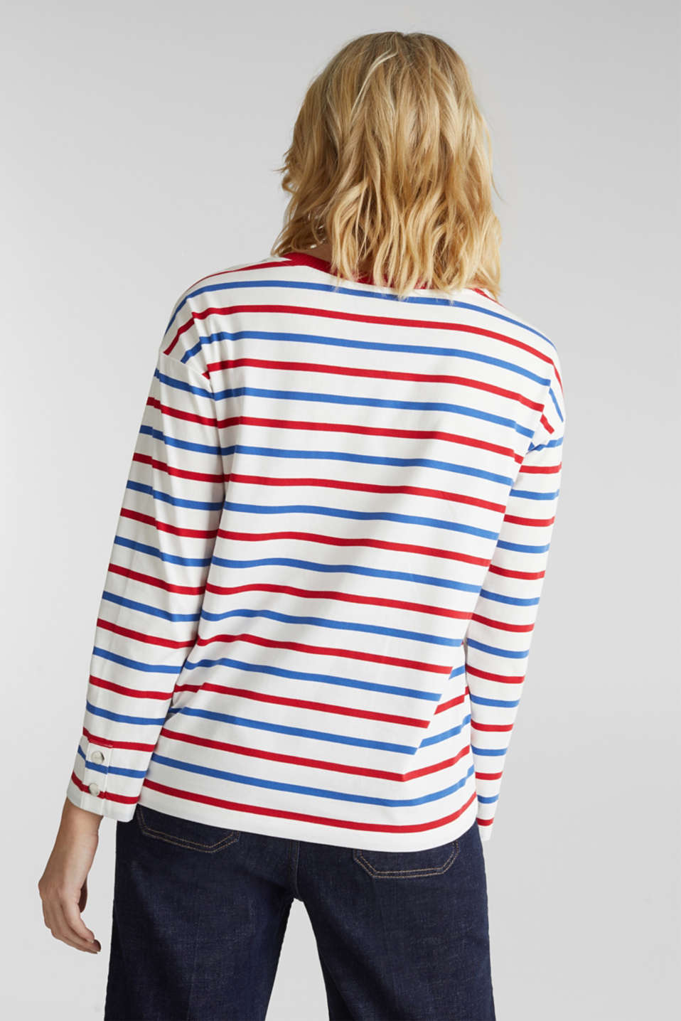 Long sleeve top with button details, 100% cotton, OFF WHITE, detail image number 3