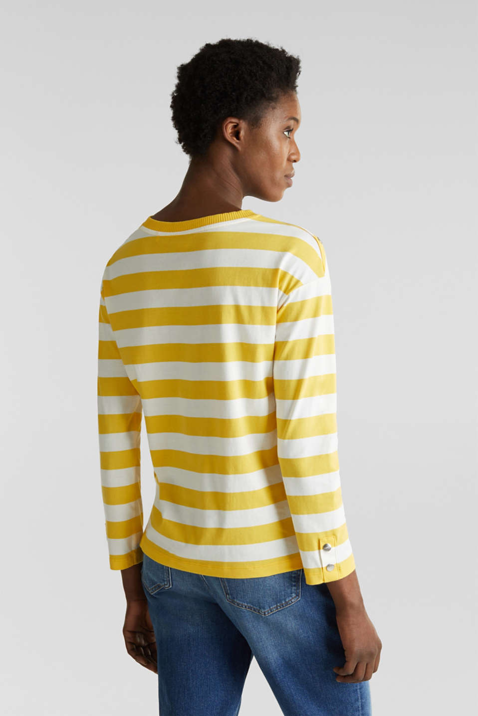Long sleeve top with button details, 100% cotton, YELLOW, detail image number 3