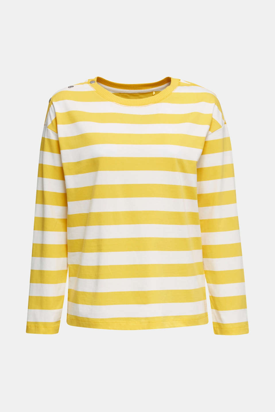Long sleeve top with button details, 100% cotton, YELLOW, detail image number 7