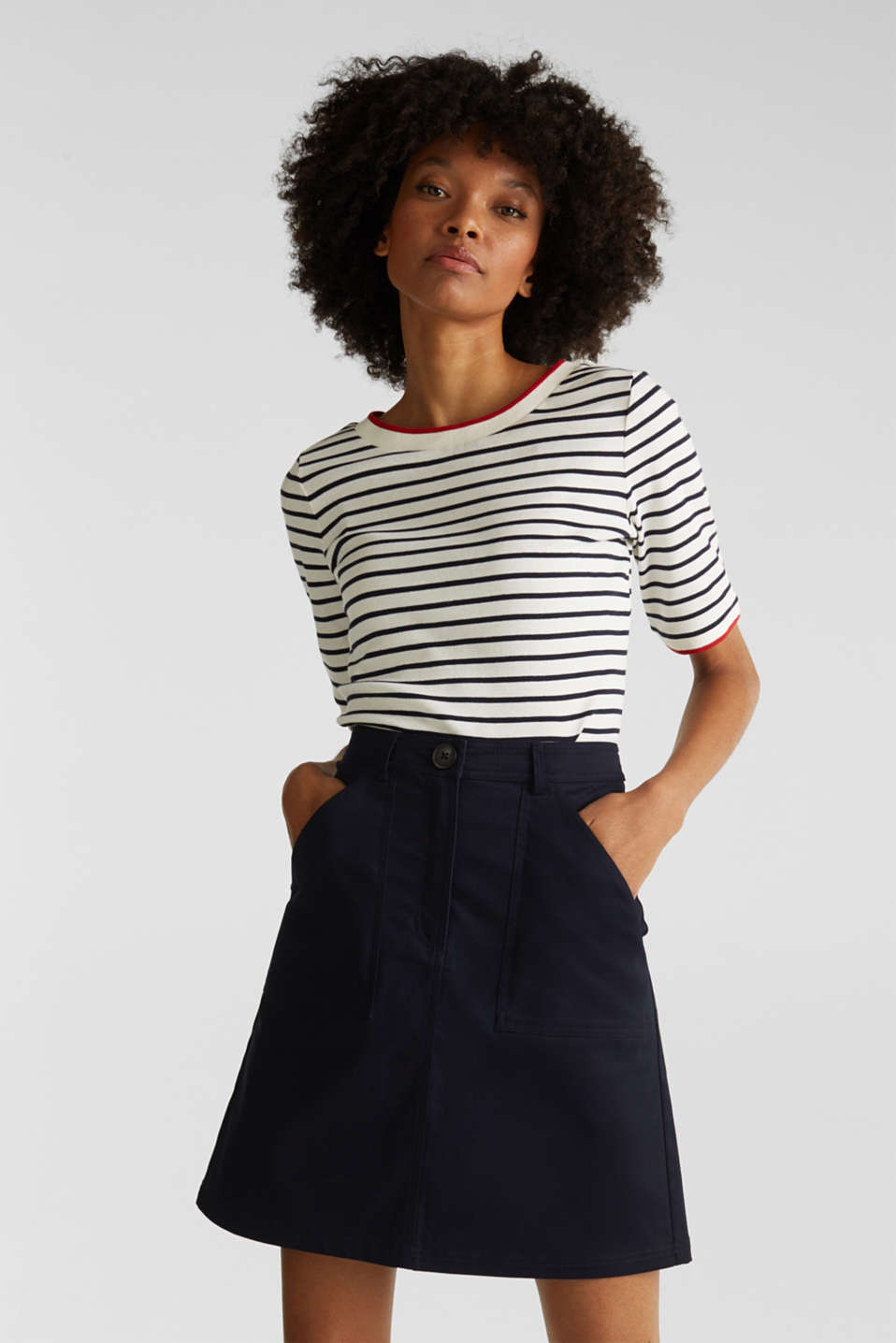 Striped top with ribbed borders, 100% cotton, NAVY, detail image number 0