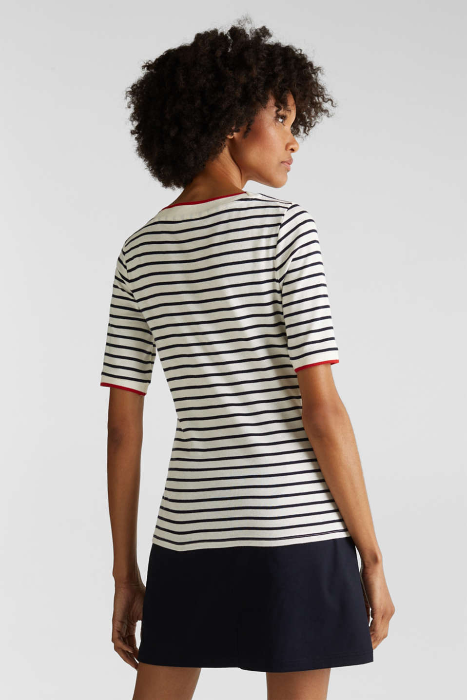 Striped top with ribbed borders, 100% cotton, NAVY, detail image number 3