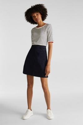 Striped top with ribbed borders, 100% cotton, NAVY, detail