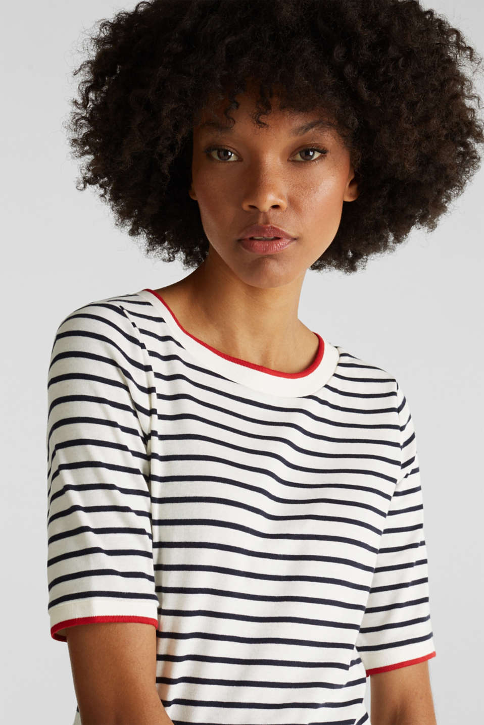 Striped top with ribbed borders, 100% cotton, NAVY, detail image number 2