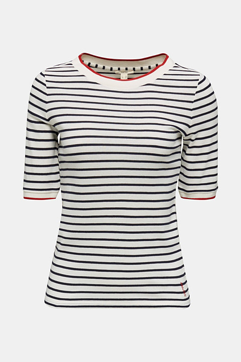Striped top with ribbed borders, 100% cotton