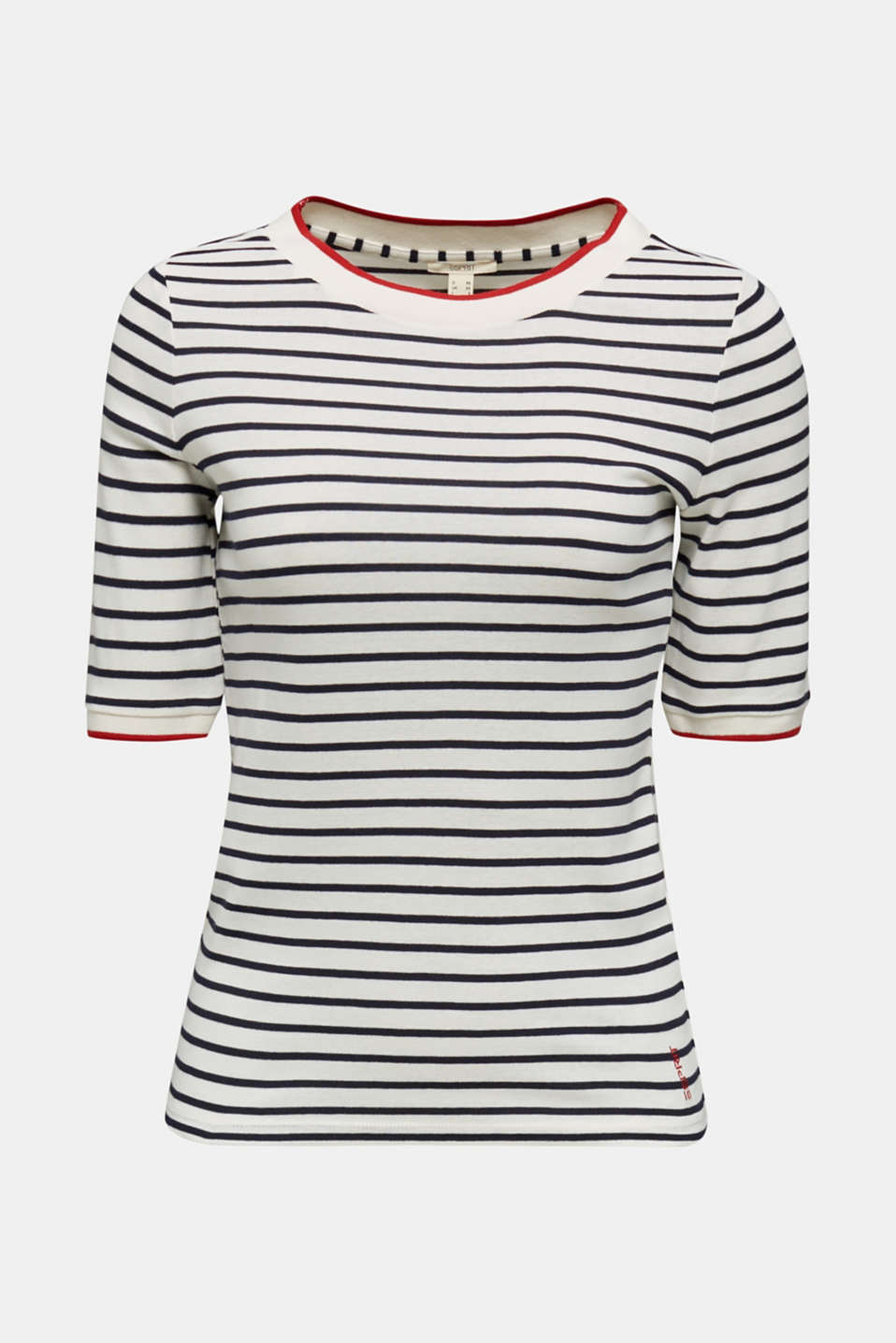 Striped top with ribbed borders, 100% cotton, NAVY, detail image number 5