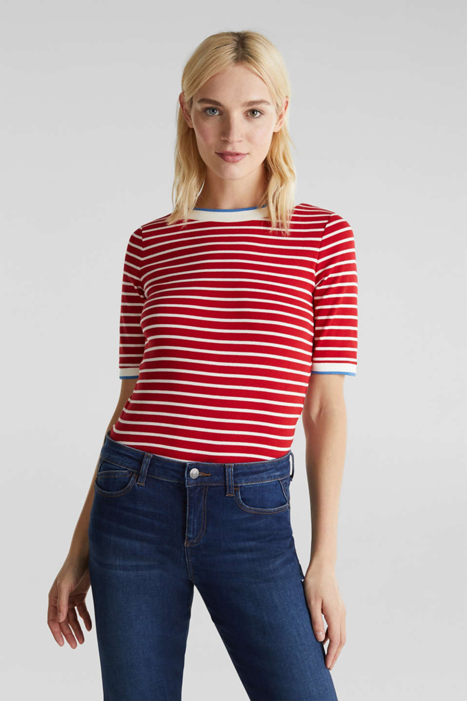 Striped top with ribbed borders, 100% cotton, DARK RED, detail image number 0