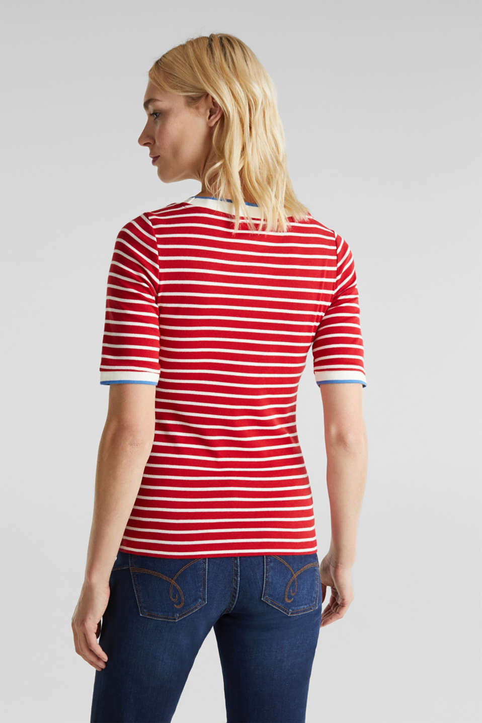 Striped top with ribbed borders, 100% cotton, DARK RED, detail image number 3