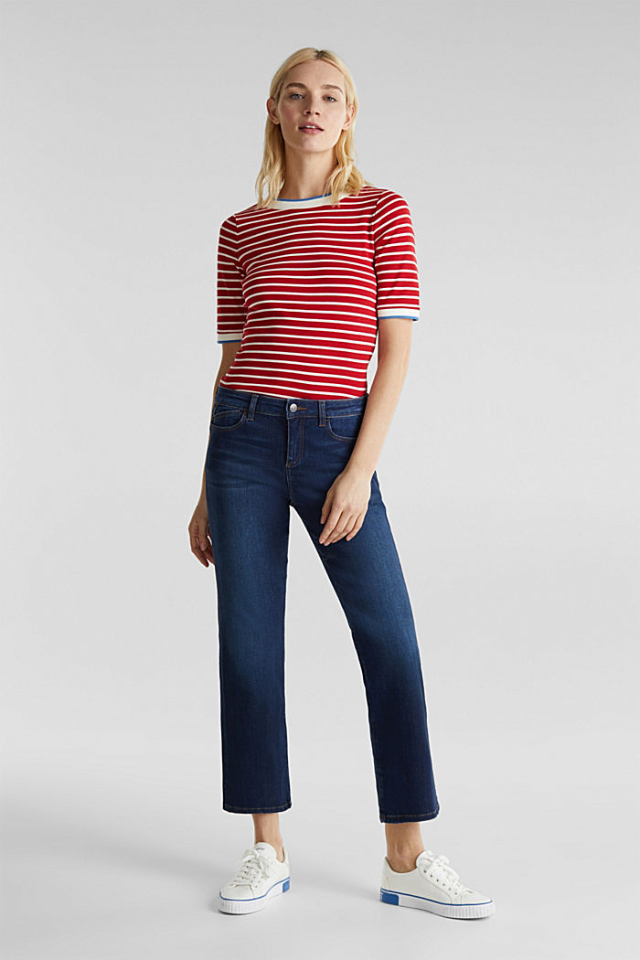 Striped top with ribbed borders, 100% cotton, DARK RED, detail image number 1