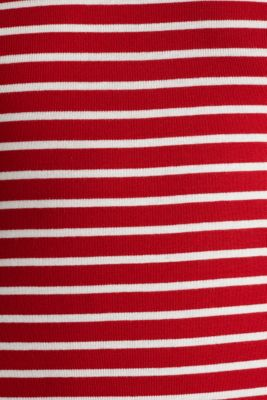 Striped top with ribbed borders, 100% cotton, DARK RED, detail