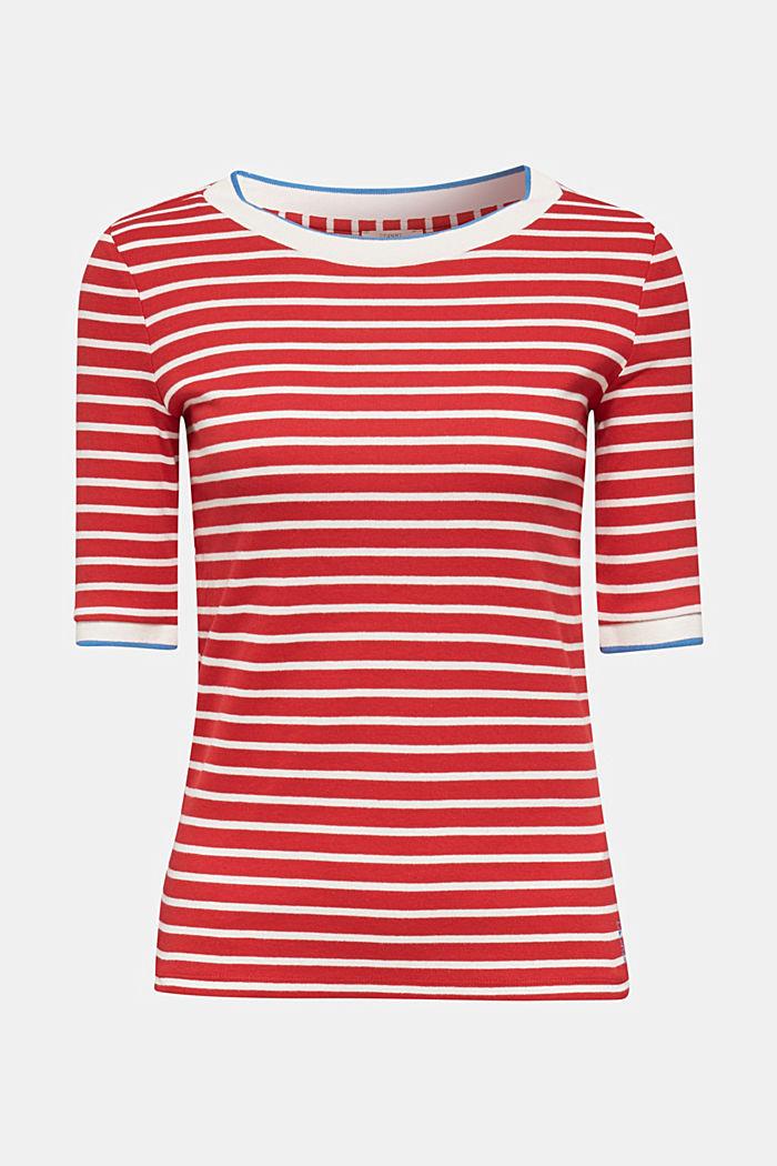 Stribet shirt med ribkanter, 100% bomuld, DARK RED, detail image number 0