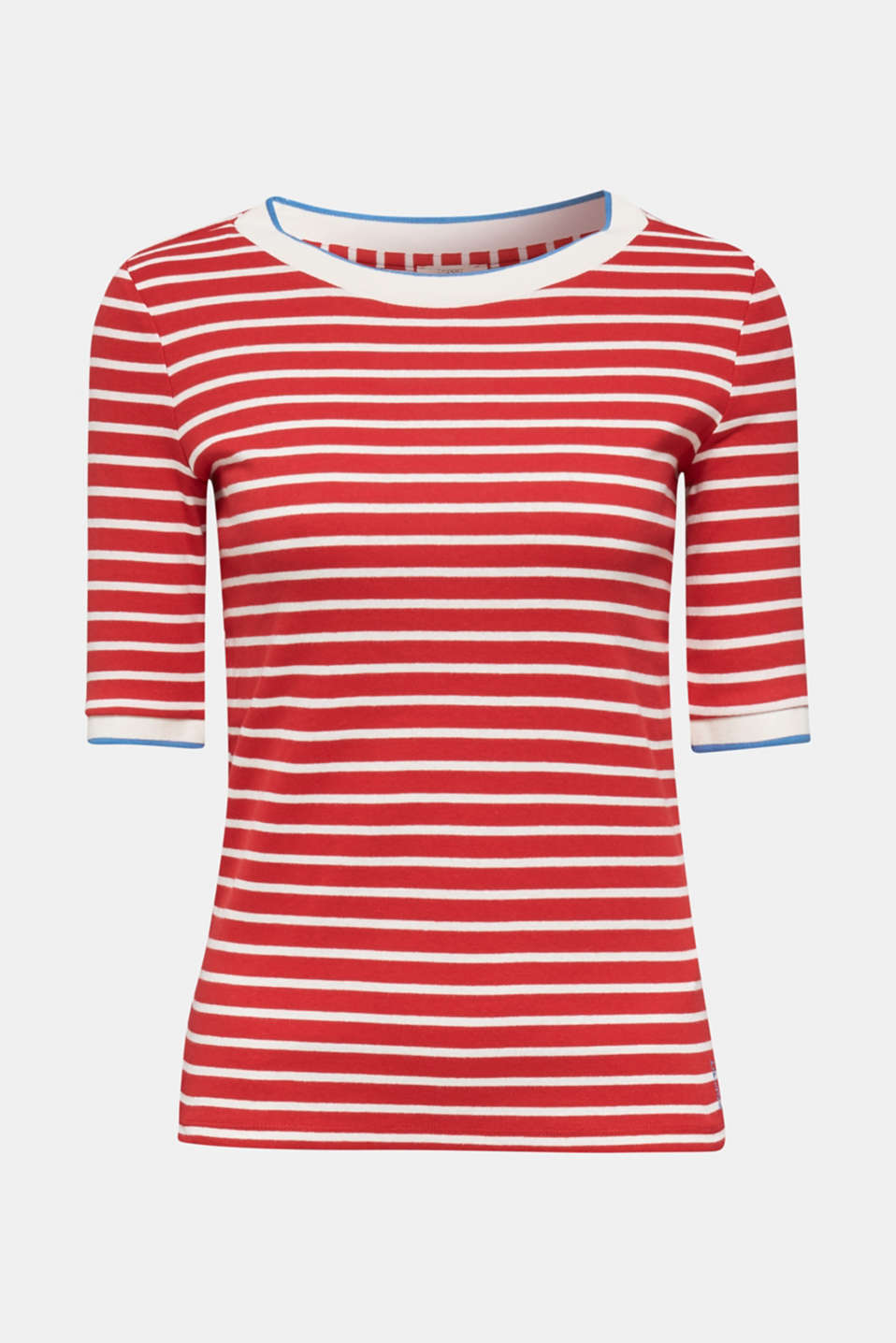Striped top with ribbed borders, 100% cotton, DARK RED, detail image number 6