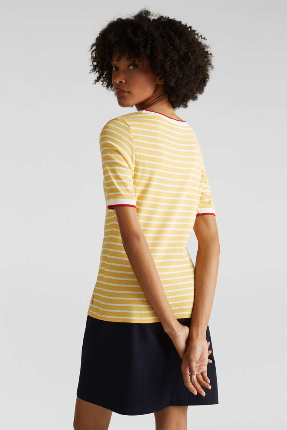 Striped top with ribbed borders, 100% cotton, YELLOW, detail image number 2