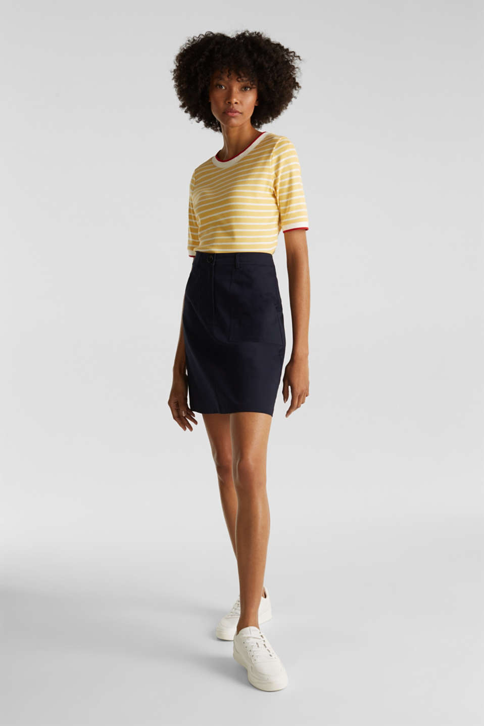 Striped top with ribbed borders, 100% cotton, YELLOW, detail image number 1