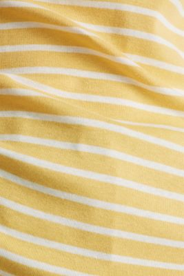 Striped top with ribbed borders, 100% cotton, YELLOW, detail