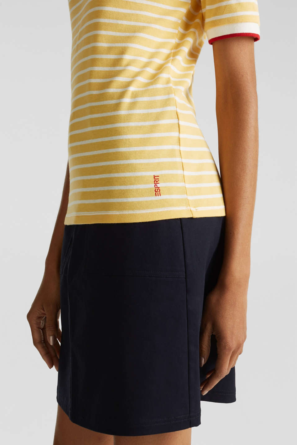 Striped top with ribbed borders, 100% cotton, YELLOW, detail image number 4