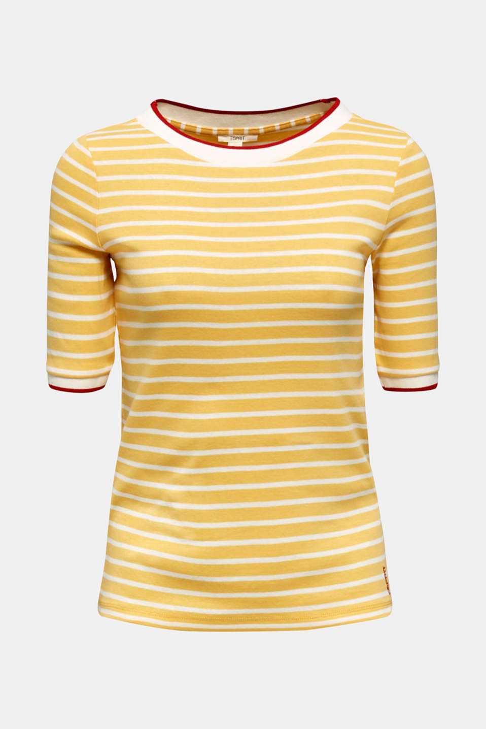 Striped top with ribbed borders, 100% cotton, YELLOW, detail image number 6
