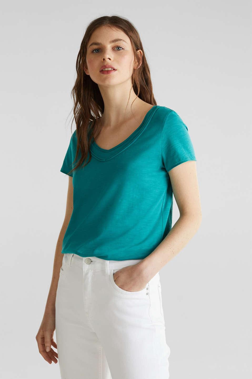 Slub jersey T-shirt in 100% organic cotton, TEAL GREEN 4, detail image number 0