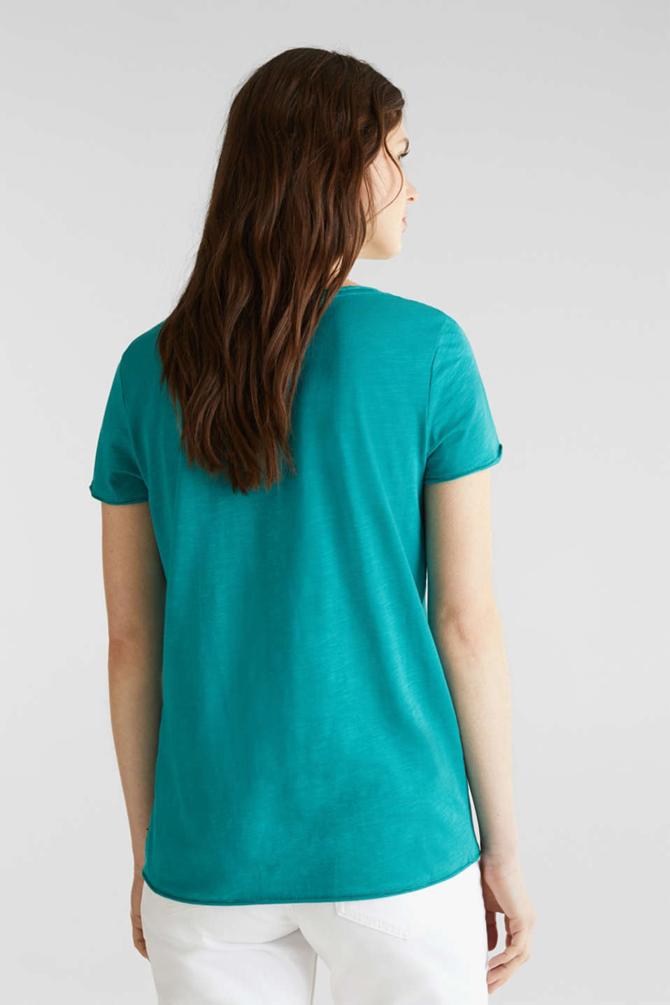 Slub jersey T-shirt in 100% organic cotton, TEAL GREEN 4, detail image number 2