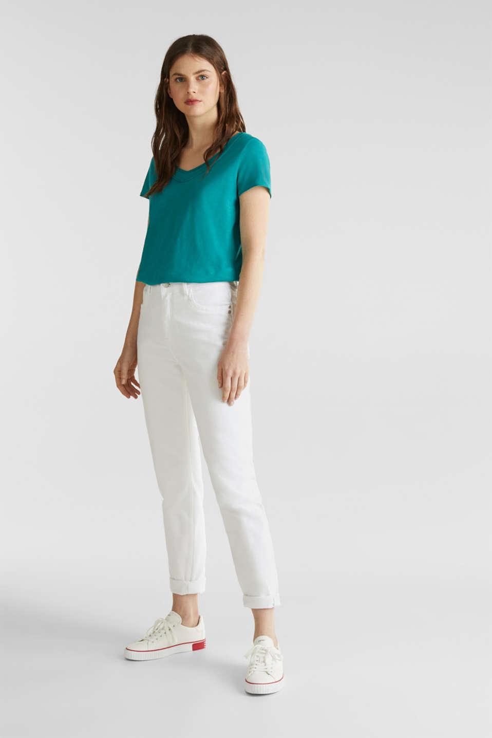 Slub jersey T-shirt in 100% organic cotton, TEAL GREEN 4, detail image number 1