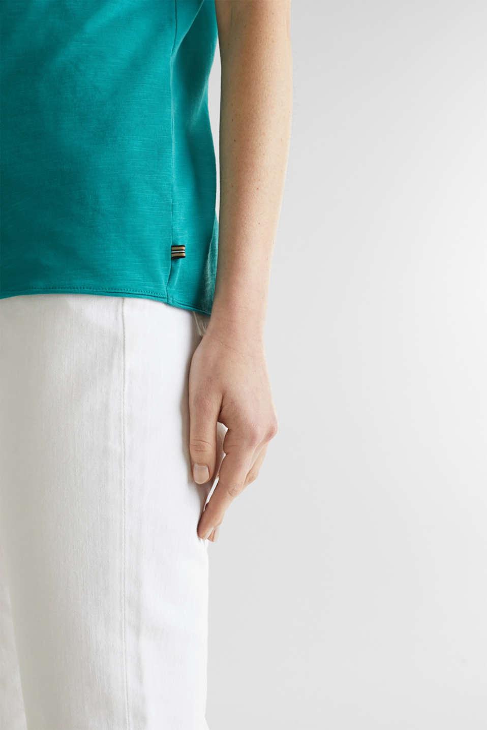Slub jersey T-shirt in 100% organic cotton, TEAL GREEN 4, detail image number 4