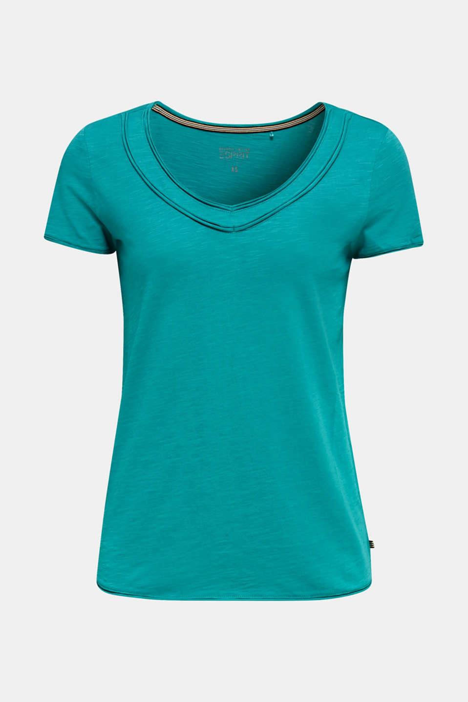 Slub jersey T-shirt in 100% organic cotton, TEAL GREEN 4, detail image number 6