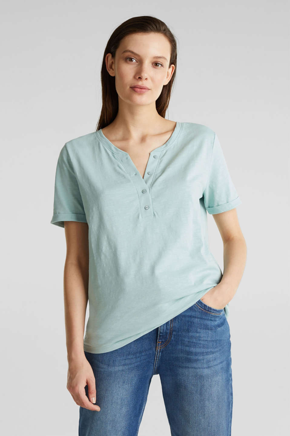 100% cotton Henley T-shirt, LIGHT AQUA GREEN 4, detail image number 0