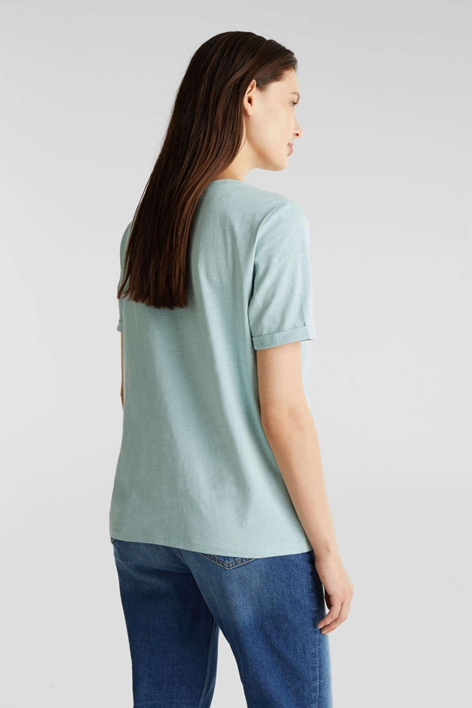 100% cotton Henley T-shirt, LIGHT AQUA GREEN 4, detail image number 3