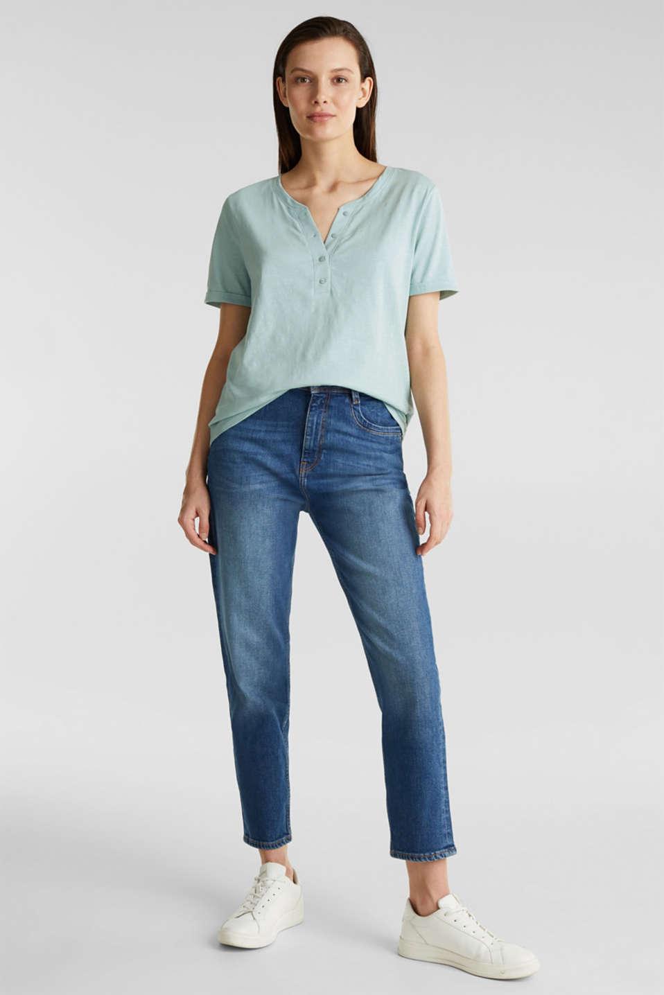 100% cotton Henley T-shirt, LIGHT AQUA GREEN 4, detail image number 1