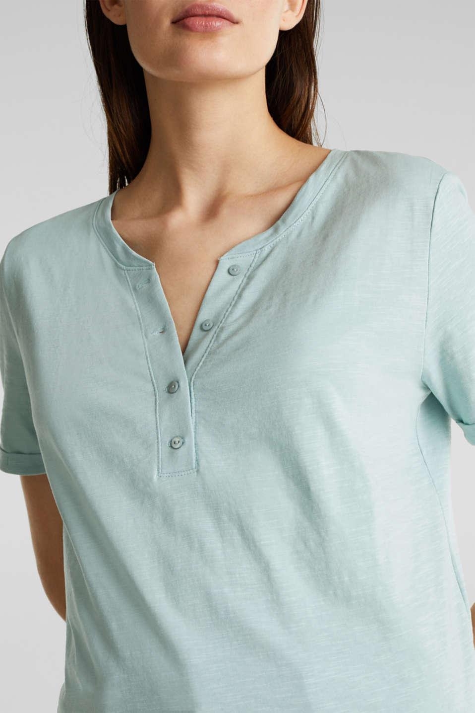 100% cotton Henley T-shirt, LIGHT AQUA GREEN 4, detail image number 2