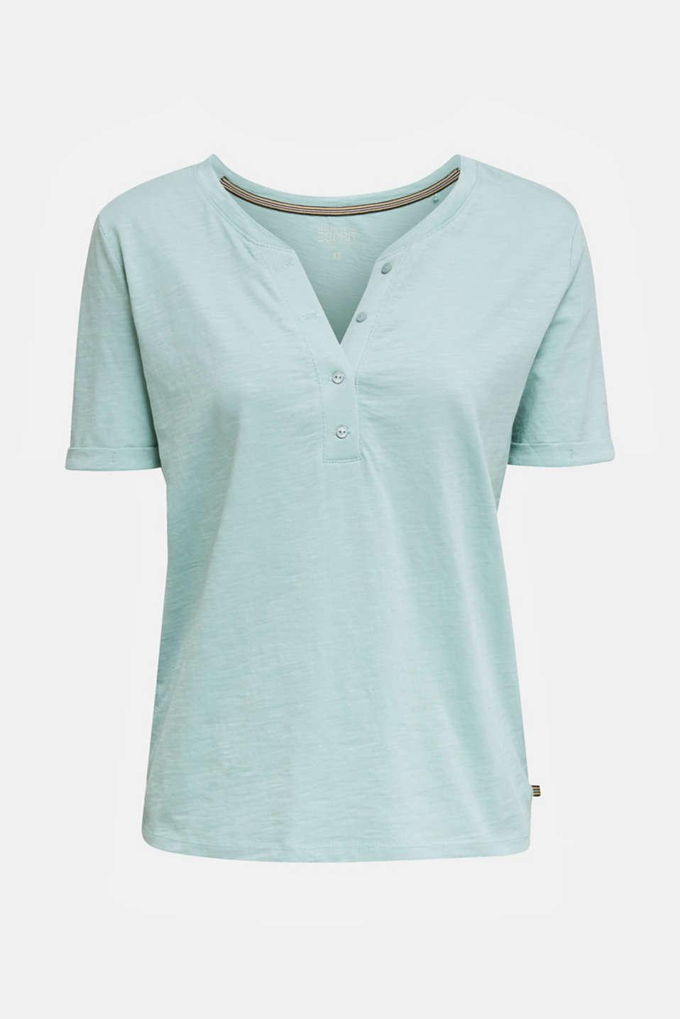 100% cotton Henley T-shirt, LIGHT AQUA GREEN 4, detail image number 5
