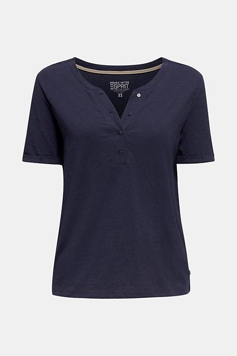 Slub T-shirt with a Henley neckline, 100% cotton